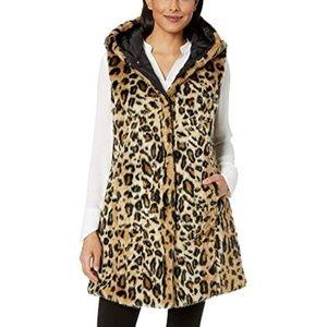 Via Spiga Reversible Long Hooded Faux Fur Vest M